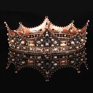 Fantasy Cosplay Baroque Beaded Queen Tiara Crown Wedding Headdress Headband Hair Couronne Accessory