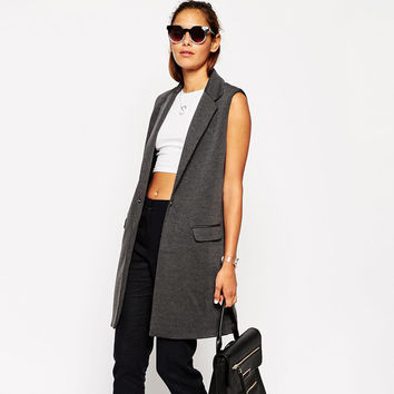 Sleeveless Long Gray One Button Jacket