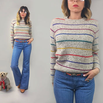 Vintage 1970's RAINBOW Striped Grey Knit Deadstock Pullover Sweater    Size Small Medium