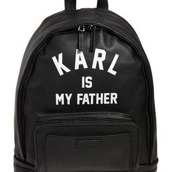 Men's ELEVENPARIS 'Karl is My Father' Faux-Leather Backpack with Rain Cover - Black
