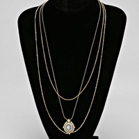 Layered Chain Of Wise Pendant Necklace LIGHT BLUE