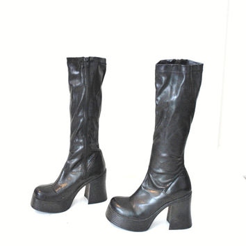 size 8 tall MEGA platform boots 80s 90s KAWAII club kid stacked toe elastic shaft CHUNKY black pvc knee high boots