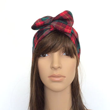Royal Red Flannel Hairband, Tartan, Turban, Bow, Teen, Women Hair Accessory