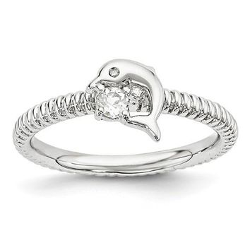 Sterling Silver Stackable Expressions White Topaz And Diamond Dolphin Ring