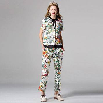 New Design European American Women's Casual Fashion 2 Pieces Pants Set Printed Shirt Slim Trousers Runway Twin Sets Outfit Suits