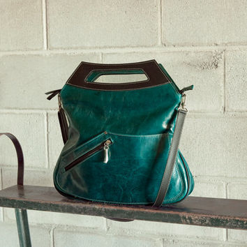 Leather purse, teal blue - convertible Melody - Free Shipping