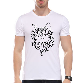 Men's Vintage Cat Tattoo Pattern Printed  Summer T-Shirt Short Sleeve O-Neck Modal Hipster Tees