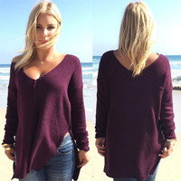 Burgundy V-Neck Long Sleeve Dip Hem Pullover