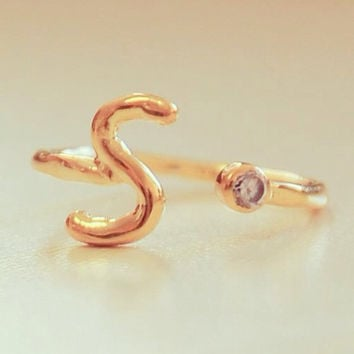 Personalized Bridesmaids Gifts - Gold Initial Ring - Birthstone Ring - Letter Ring - Monogrammed Gifts - Custom Initial Ring - Letter Ring