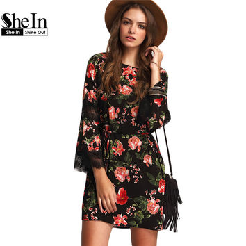 SheIn Women Black Tie-waist Lace Panel Sleeve Dresses Ladies Summer Round Neck Long Sleeve Floral Casual Shift Dress