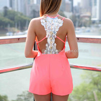 SAVANNAH PLAYSUIT , DRESSES, TOPS, BOTTOMS, JACKETS & JUMPERS, ACCESSORIES, 50% OFF SALE, PRE ORDER, NEW ARRIVALS, PLAYSUIT, COLOUR, GIFT VOUCHER,,Pink,LACE,CUT OUT,Sequin,BACKLESS,SLEEVELESS Australia, Queensland, Brisbane