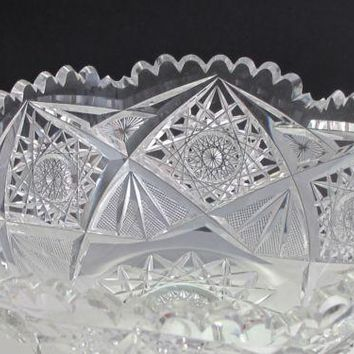 American Brilliant Period hand Cut Glass and mouth blown bowl abp hobstar