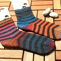 Handknit striped socks size EU 41-43, US 9-12, handknit in black, red, purple and blues, holiday gift for him or her, wool socks, boot socks
