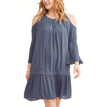 Terra & Sky Women's Plus Cold Shoulder Peasant Dress with Crochet - Walmart.com