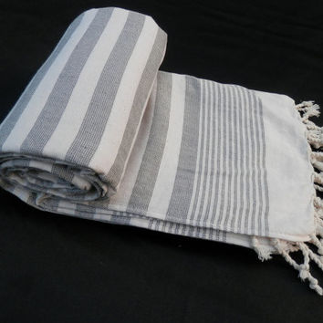 Turkish peshtemal white and gray striped soft cotton bath towel, beach towel, spa towel, baby towel.