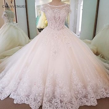 LS00065 Gorgeous ivory bridal gown short sleeves beading ball gown lace wedding dress vestidos de noivas real photos