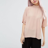 Monki Zip Back Blouse at asos.com