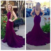 Prom  Dresses Long Mermaid Cheap Sexy Backless Spandex Dark Purple Gown Formal Graduation Party 2017 Evening Dress