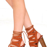 Keep Smiling Tan Suede Lace-Up Heels