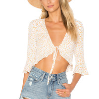 For Love & Lemons Aurora Tie Top in White Star | REVOLVE