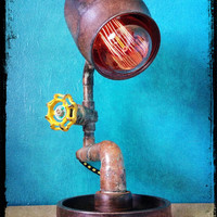 No. 58 - Reclaimed Oxygen Tank Cap Repurposed Salvaged Automotive Gear Assembly Industrial Lamp