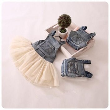 EMS/DHL/FEDEX/UPS Free Fast Shipping 2015 Girls Denim Suspender Dress Lace TUTU Tiered Tulle Strap Dresses Baby Girls's Cowboy Party Dress.
