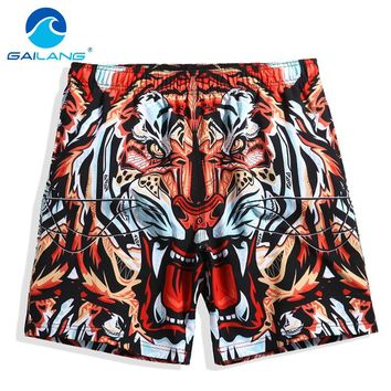 Tiger Print Quick Drying Beach Shorts