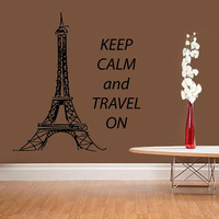 Paris Wall Decal Quote Keep Calm and Travel On Home Art Mural Eiffel Tower Vinyl Stickers Bedroom Decor Living Room Design Interior KI76