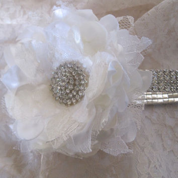 Ivory and White Satin and Lace Rhinestone Wrist Corsage Bracelet Bridesmaid Mother of the Bride Prom with Rhinestone Accent. Custom Made