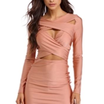Peach Under Wraps Mini Dress