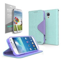 Faux Leather Diary Flip Stand Case [Mint/ Purple] w/ ID Slots, Bill Fold & Magnetic Closure for Samsung Galaxy S4 Mini