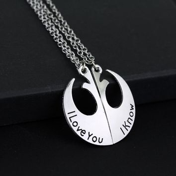 MQCHUN STAR WARS I LOVE YOU I KNOW HANS AND LEIA COUPLE CHARM PENDANT NECKLACE TWO PART NECKLACES FOR LOVER'S