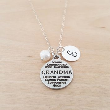Grandma Neckalce -  Birthstone Necklace - Personalized Gift - Initial Necklace - Sterling Silver Necklace - Gift for Grandma