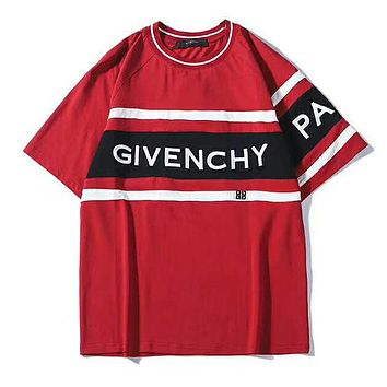 GIVENCHY Summer Fashionable Women Men Casual Print Round Collar T-Shirt Top Tee Red