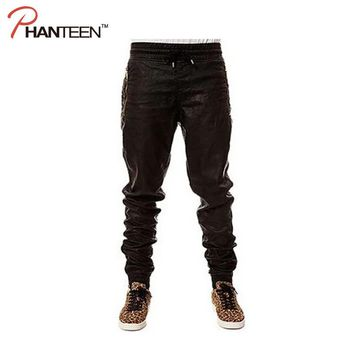 European And American Style Men Pants Hiphop Rock And Roll Leather Pants Shrink Mouth Dancing Fashion Trousers