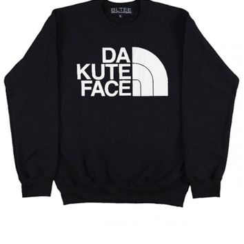 BRIAN LICHTENBERG Black Da Kute Face Sweatshirt with White Ink