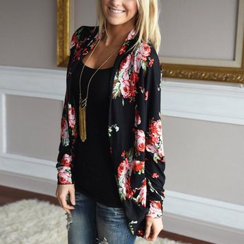 Long Sleeve Floral Cardigan