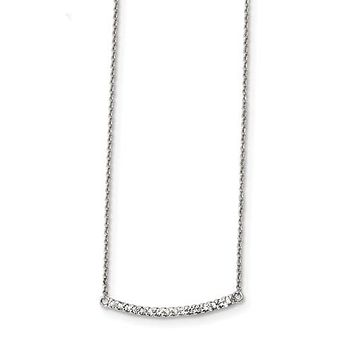 925 Sterling Silver CZ Classic Bar Necklace
