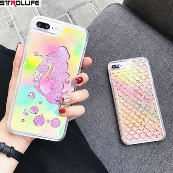 STROLLIFE Laser Mermaid Sequins Dynamic Liquid QuickSand Glitter Phone Case For iPhone 6 6S 7Plus Shinning Back Cover Capa Coque