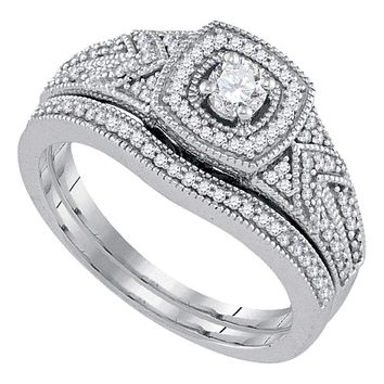10k White Gold Women's Round Diamond Filigree Wedding Ring Set - FREE Shipping (US/CA)