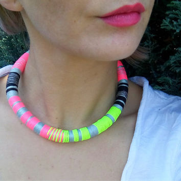 Party, Tribal Necklace, African Necklace, Rope Choker, African Necklaces, Aztec Necklace, African Choker, African Jewelry, Collier Africaine