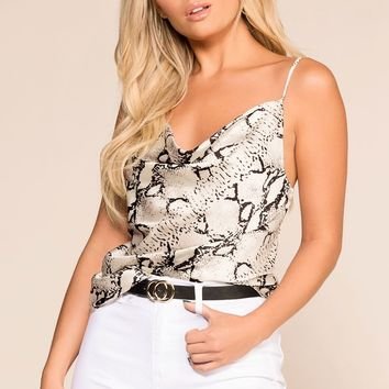 Do Your Thing White Snakeskin Print Cami Top