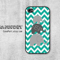 Elephant Chevron iPhone 4 Case, iPhone 4s Case, iPhone 4 Cover, iPhone 4s Cover, iPhone Hard Case