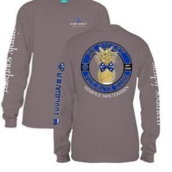 *Closeout* Simply Southern Long Sleeve Tees- FOOTBALL ROYAL BLUE & BLACK