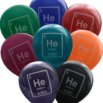 Nerdy Helium Periodic Table Element Balloons | Geeky Party Decorations | Student, Professor, Teacher, Scientist, Chemist