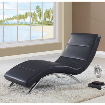 Global Furniture USA R820 Leather Chaise Lounge in Black