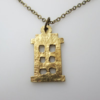 Police Box Doctor Who Tardis Inspired Necklace in Antique Gold Finish