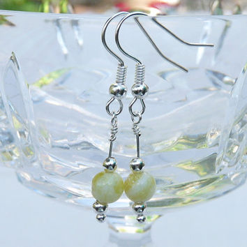 Earrings, Yellow Jade, Drop Style, Dangle, Drop Style, Silver, yellow, handmade, Ooak