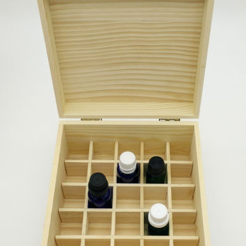 Wooden Essential Oil Storage Box (holds 25 bottles up to 15ml size)