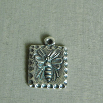 Sterling silver BEE pendant, rustic, jewelry finding, component for necklace, supplies, springtime, square pendant